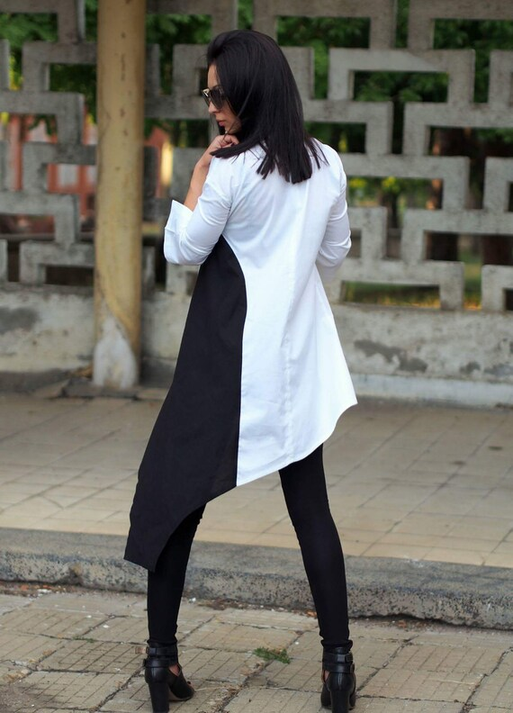 Woman dress asymmetric tunic white shirt asymmetric black and shirt extravagant asymmetric woman rarZqfw