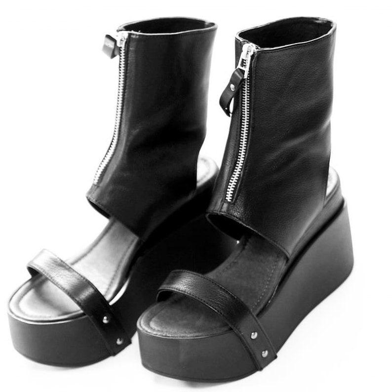 76c54ba3e8612 Black genuine leather platform summer boots/women genuine leather summer  boots/genuine leather wedges/must have wedges