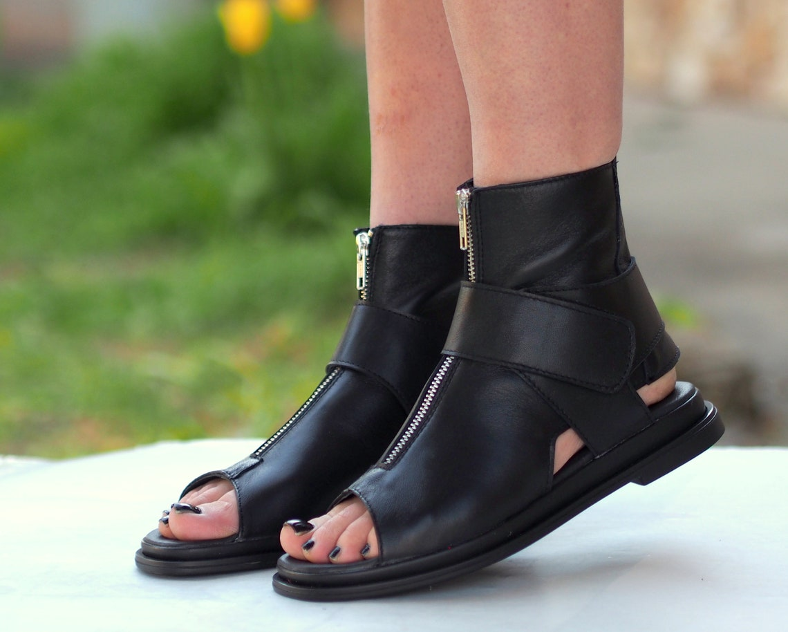 Black Genuine Leather Summer Boots/woman - Big Sale l3iWM