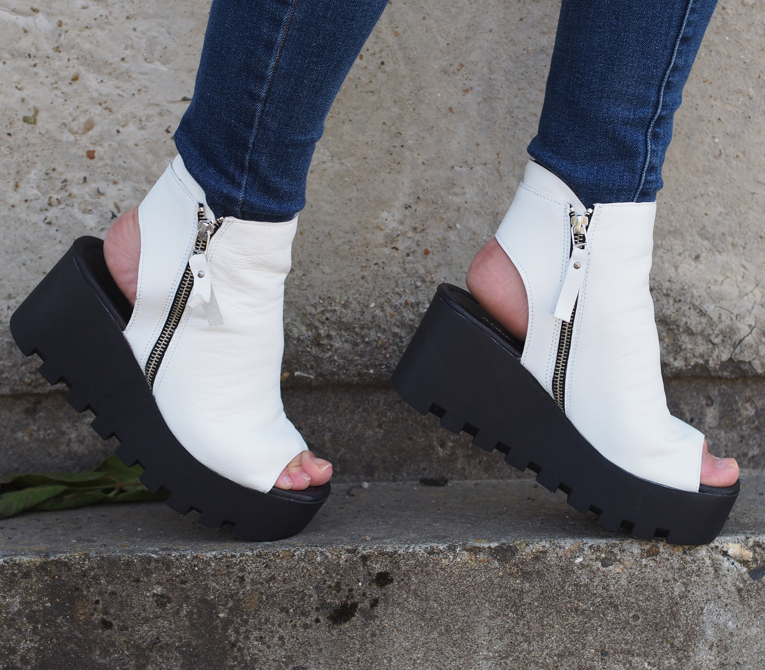 e181f0399c8f4 White genuine leather summer boots/summer platform boots/must have summer  wedges
