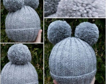 Double Pom Pom Hats: double pompom hat- bobble hat- made to order- winter- cold- snow- adults- children- 8 POUNDS- 10 POUNDS- any colours-