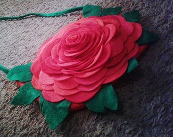 Giant Red Rose Purse with Pockets