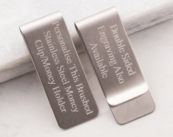 Acier Inoxydable Lettre C Initiale Bo/îte Florale Porte-Cartes de cr/édit avec Pince /à Billets Monogramme grav/é