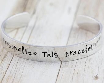 Customized bracelet, personalized jewelry, silver cuff bangle, hand stamped, bespoke gift, quote jewelry, motivational gift,  gift for her