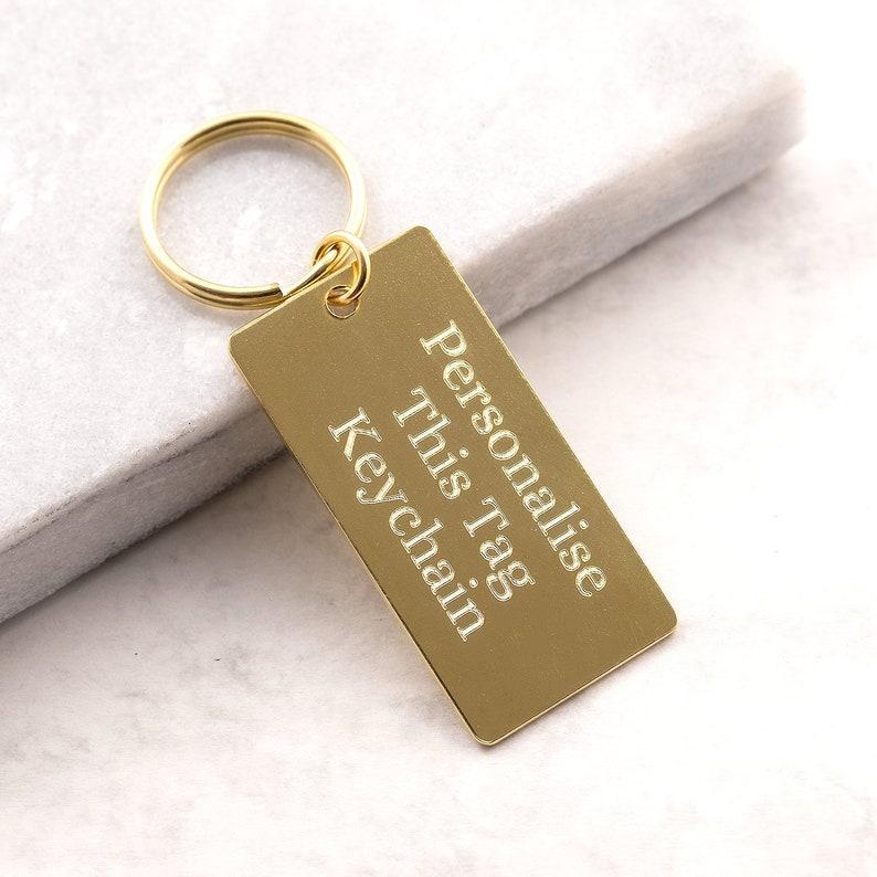 Personalized brass tag keychain, personalized keyring, brass keyring, gift  for him, personalized gift, engraved keychain, custom keychain