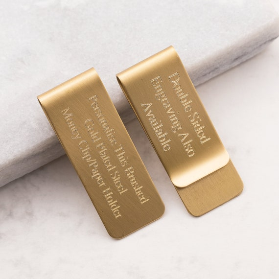 Personalized Brass Money Clip Gold Tone Metal Clip Custom Money Wallet Engraved Clip for Money