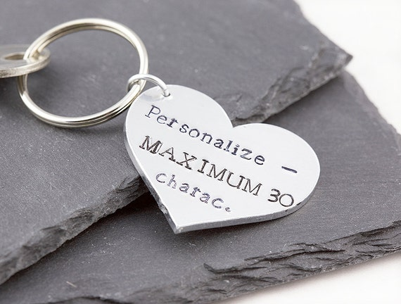 personalized heart keychain heart keyring gift for her gift etsy