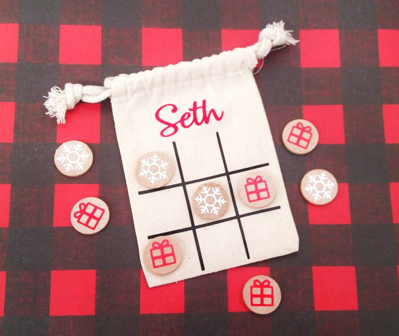 Tic tac toe personalized kids Christmas personalized tic   Etsy