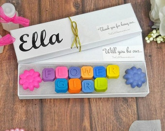 Flower girl gift - crayons - will you be my flower girl - gift for flower girl - will you be our flower girl- kids wedding favors