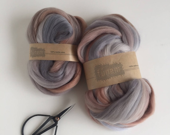 Merino Wool Roving Melange Multicolor Grey & Camel