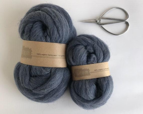 Organic Merino Wool Roving 644 Indigo Mix