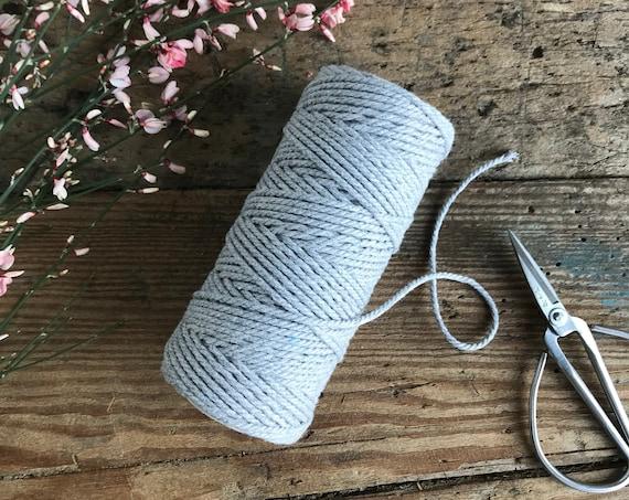 Cotton String 2mm Light Heather Grey