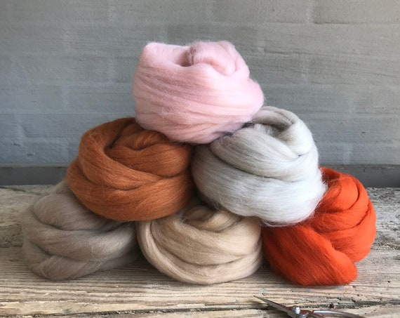 Organic Merino Wool Roving Bundle Rust & Beige