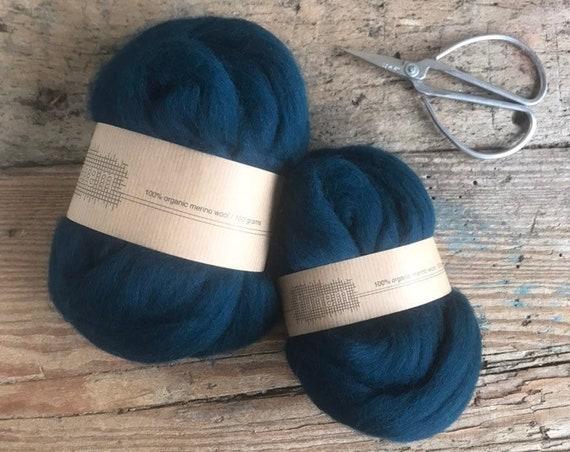 Organic Merino Wool Roving Dark Petrol