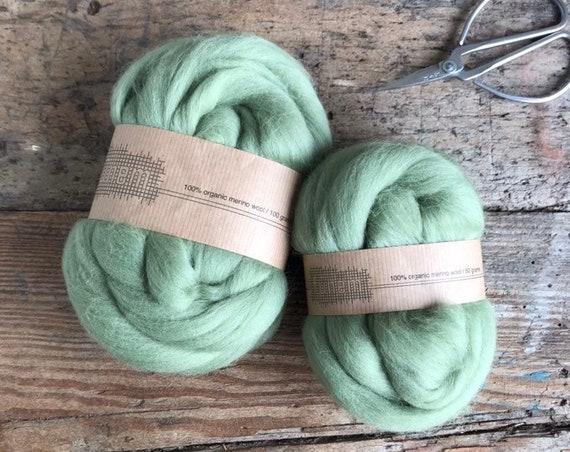 Organic Merino Wool Roving 699 Wedgwood Green