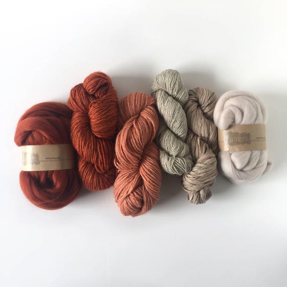 Mixed Yarns & Fibers Pack / Stone Red + Cream