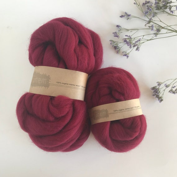 Organic Merino Wool Roving 609 Bordeaux