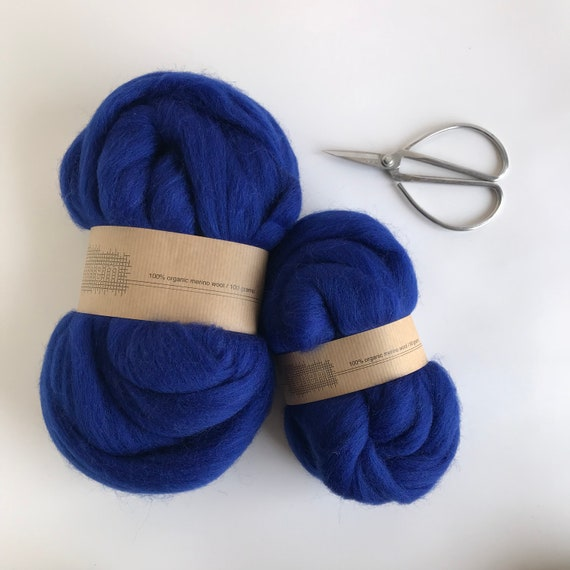 Organic Merino Wool Roving 624 Royal Blue