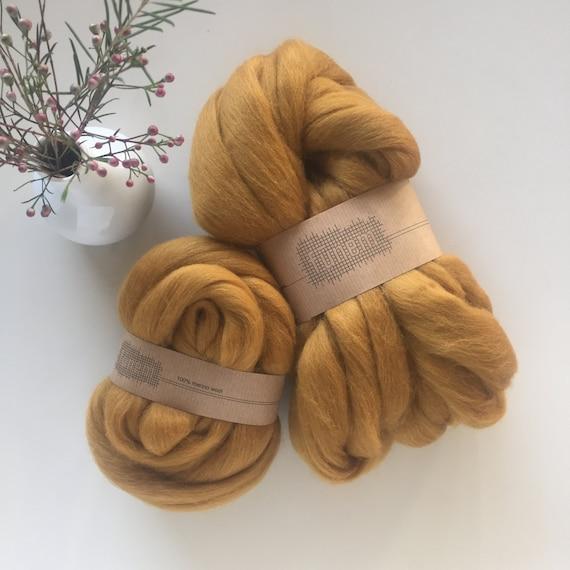 Organic Merino Wool Roving Ochre
