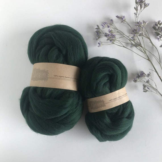 Organic Merino Wool Roving 628 Deep Forest