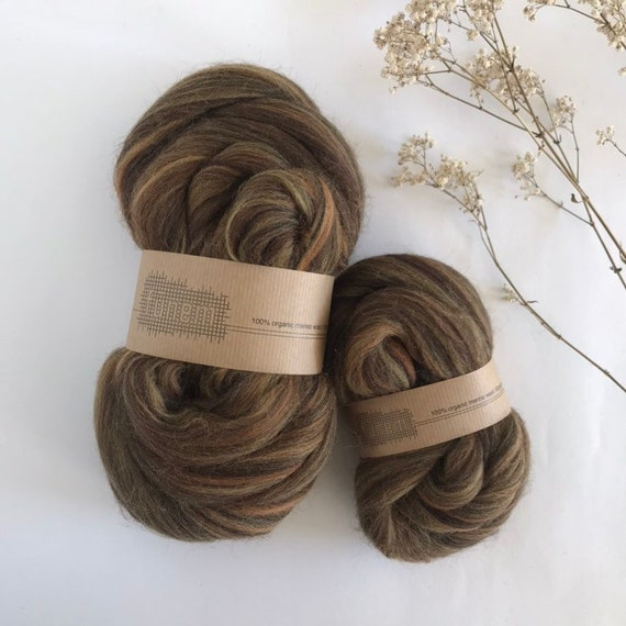 Organic Merino Wool Roving Bronze Blend