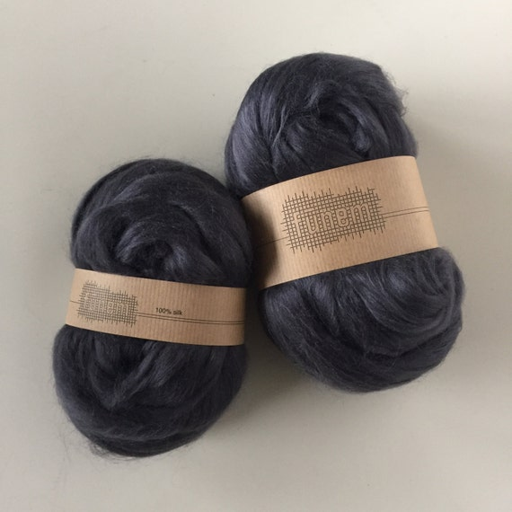 Tussah Silk 'ANTHRACITE' / Silk Fibers / Zijde lont / Tussahzijde / Fibre / Fibers /