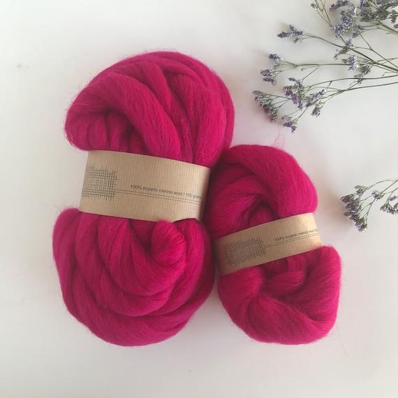 Organic Merino Wool Roving 613 Lipstick