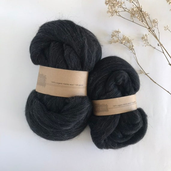 Organic Merino Wool Roving Coal Mix