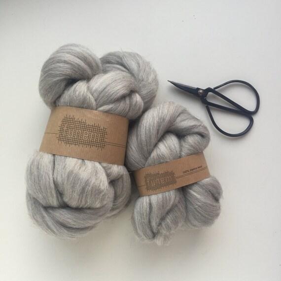 Merino Wool Roving Grey Melange Undyed