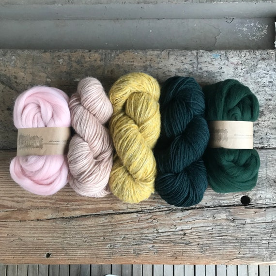 Fiber Pack Rose, Mustard and Deep Forest