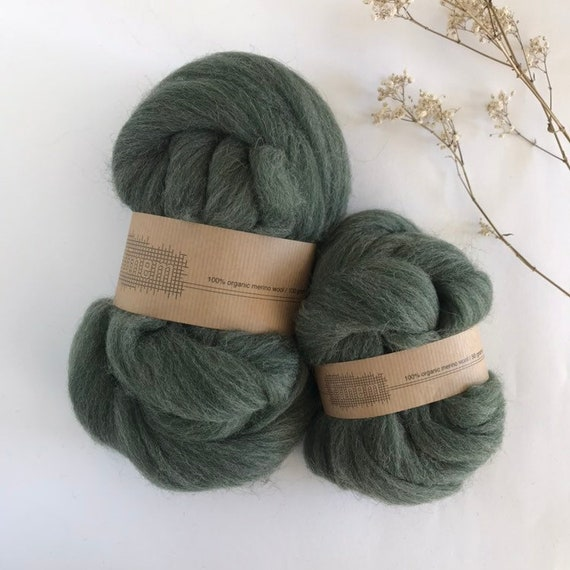 Organic Merino Wool Roving Fir Mix