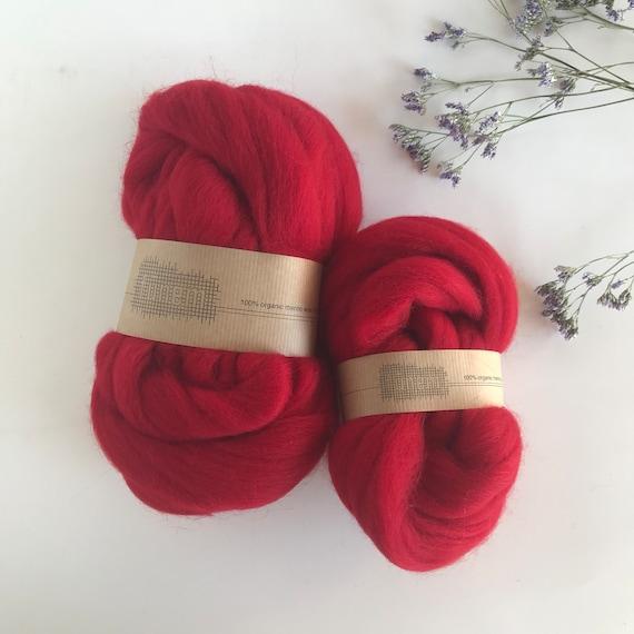 Organic Merino Wool Roving 612 Carmine