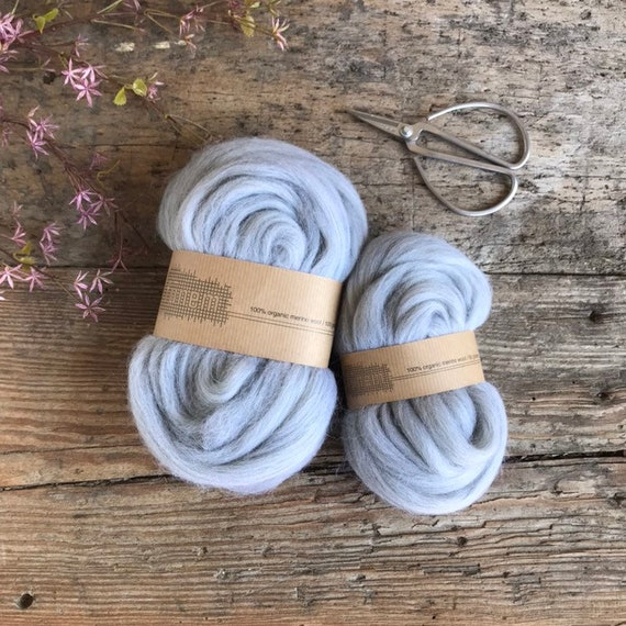 Organic Merino Wool Roving 672 Grey Mix