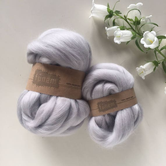 Merino Wool Roving 712 Light Grey