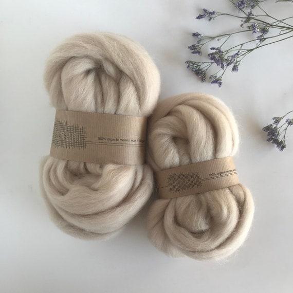 Organic Merino Wool Roving 620 Beige