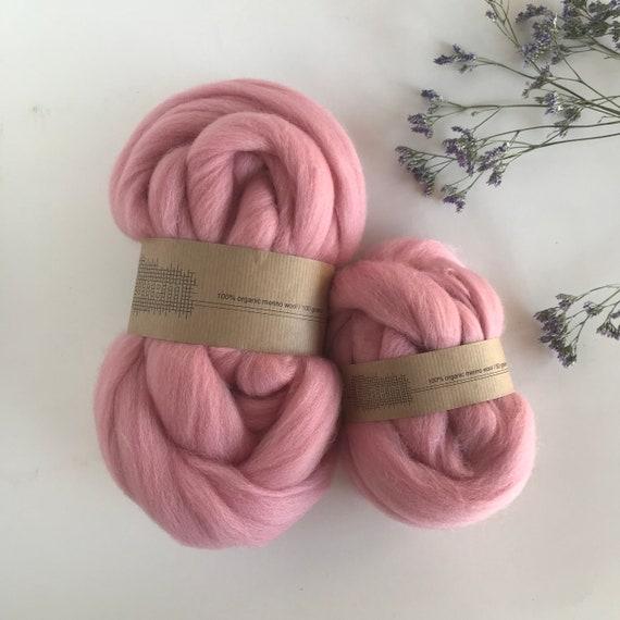Organic Merino Wool Roving 654 Baby Pink