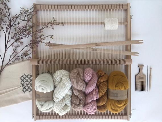 XXL Weaving Project Kit Pink & Ochre / Starter's kit / Weaving Loom / Weefraam / Kit de Tissage debutant
