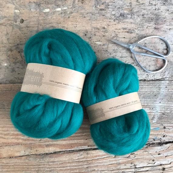 Organic Merino Wool Roving 630 Jade