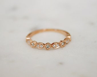 14k Vintage Rose Gold Diamond Band Matching Ring Half Eternity, Rose Gold Antique wedding band, Rose Gold Matching Wedding Band
