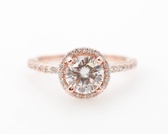 4fdc237a7 Moissanite Engagement Ring // Diamond Halo Engagement Ring // Round  Moissanite