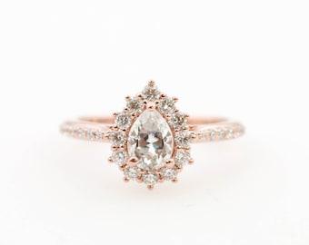 dce021fb2 Moissanite Engagement Ring // Diamond Engagement Ring // Pear Diamond Halo  Engagement Ring // Pear Moissanite