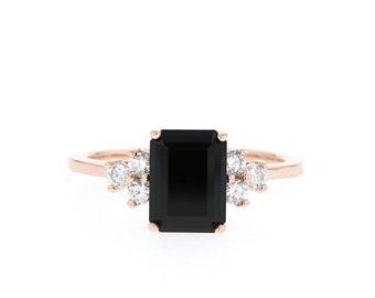 Onyx Engagement Ring // Onyx and Diamond Ring // Emerald Cut Black Onyx