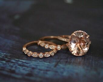 Morganite Wedding Set // 10x12 Oval Morganite // Morganite Engagement Ring // Matching Bands