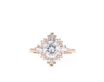0073e033c Moissanite Engagement Ring // Diamond Halo Engagement Ring // Vintage Style  Ring // Baguette Halo Ring