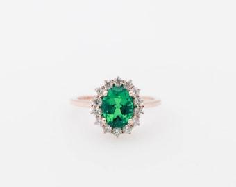 15dad3ea7 Chatham Emerald Diamond Halo Engagement Ring