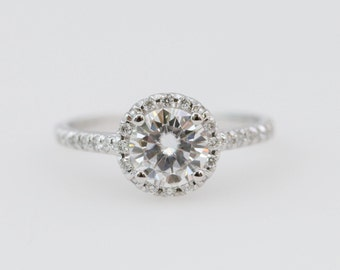 11801c088 Moissanite Engagement Ring // Diamond Halo Engagement Ring