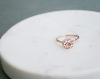 Diamond Halo Rose Gold Morganite Engagement Ring, Rose Gold Morganite Ring, Diamond Halo Round Morganite, Halo Engagement Ring, Morganit