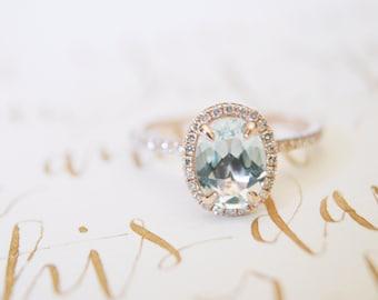 Oval Aquamarine Diamond, Halo Engagement Ring, Aquamarine, Diamond, Rose Gold, Halo Diamond