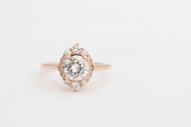 1f4232ab7 Moissanite Engagement Ring // Diamond Halo Engagement Ring // | Etsy