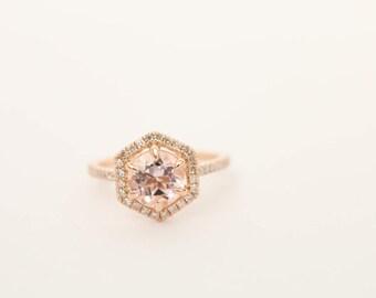 Halo Engagement Ring, Hexagon Ring, Morganite Ring, Engagement Ring, Gold Ring, Diamond Ring, Wedding Ring, Engagement Ring, Bridal Ring